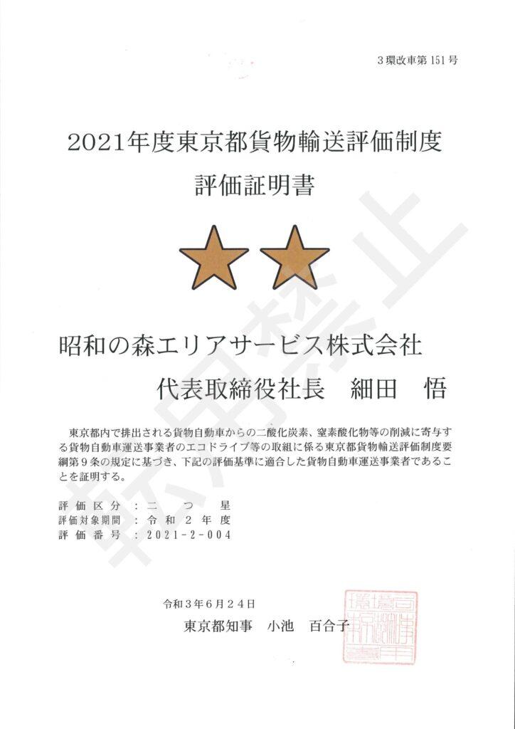 2021年度東京都貨物輸送評価制度